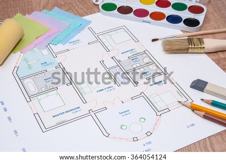 architectural plan of the house with color palette, pencil and fabric samples