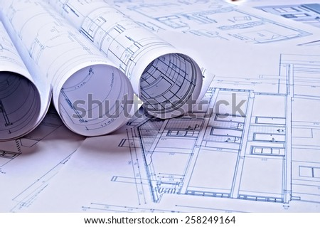 architectural plans of a dwelling with blue tint - stock photo