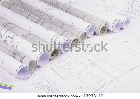Architectural plans old paper tracing paper stock photo 113933110 architectural plans of the old paper tracing paper malvernweather Images