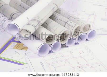 Architectural plans old paper tracing paper stock photo 113933113 architectural plans of the old paper tracing paper malvernweather Images