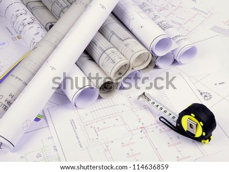 Architectural plans old paper tracing paper stock photo 114636859 architectural plans of the old paper tracing paper malvernweather Images