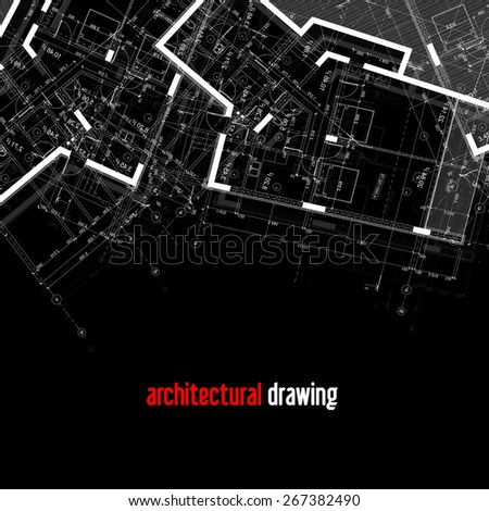 Architectural plans. Part of the architectural design of the house. - stock photo