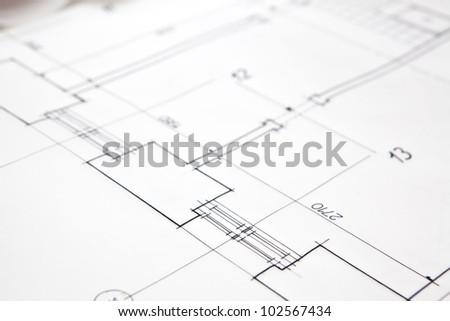 architectural project. architect rolls and plans