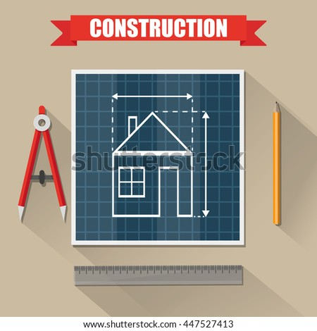 Architectural project. Construction. Building and planning. Engineer wooden desktop with house Building plan, Compass Divider, pencil, ruler. illustration in flat style on brown background