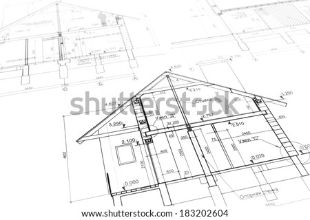 Architectural project of new modern house. Blueprints series. - stock photo