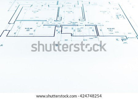 architectural project, technical drawing, construction plan blueprint - stock photo