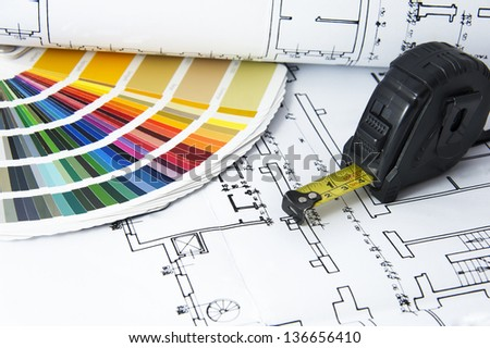 Architectural projects,  color guide and measurement tape - stock photo