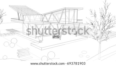 Architectural sketch, house, 3d illustration