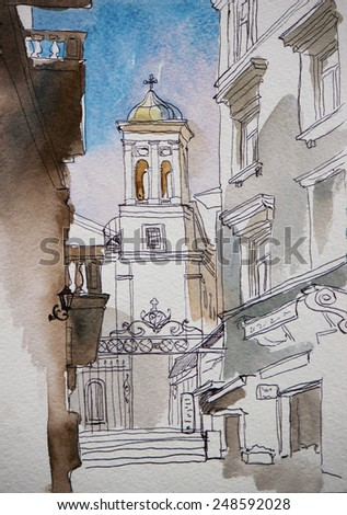 Architectural sketch of bell tower of Saint Mary Draperis Church  view from Istiklal, Istanbul, Turkey - stock photo