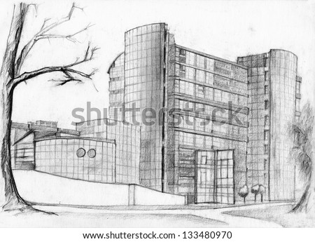 modern architecture sketch. Wonderful Sketch Architectural Sketch Of Modern Bank Building Pencil Detailed Drawing And Modern Architecture Sketch G