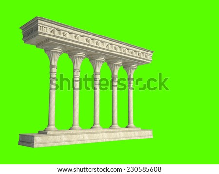 Architectural structure in classical style. Isolated on green - stock photo