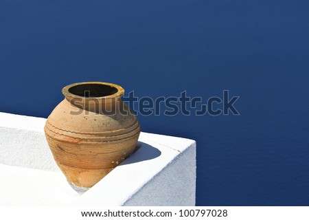 Architectural style and decoration of a Greek house at Santorini island - stock photo
