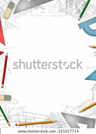 Architectural vertical background with office tools and drawings illustration - stock photo