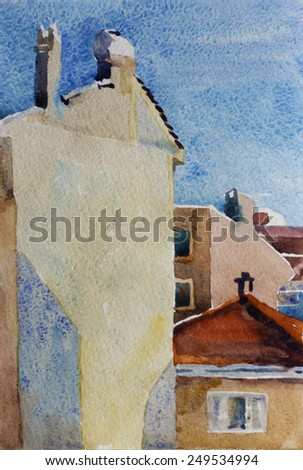 Architectural watercolor sketch of buildings in Beshiktash district, Istanbul, Turkey - stock photo