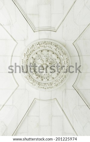 Architectural white ceiling inside the palace, history - stock photo