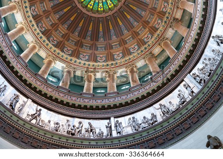 Architecturally ornate dome inside state capital building, Springfield, Illinois, USA