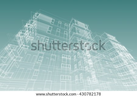 architecture abstract, 3d illustration - stock photo