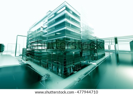 architecture abstract; 3d illustration