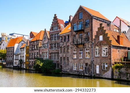 Architecture  along the river Leie in the historic part of Ghent, Belgium.