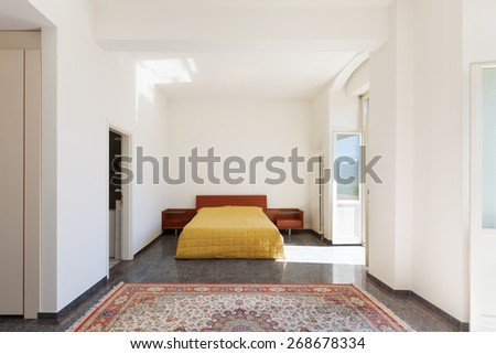 Architecture, apartment furnished, wide bedroom  - stock photo