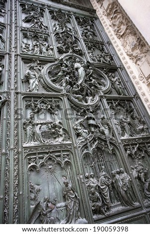 architecture art door in europe and attraction building - stock photo