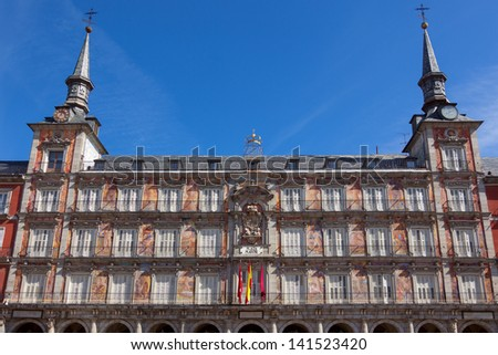Architecture at Plaza Mayor in Madrid, Spain / Casa de la Panaderia / sunlight and blue sky - stock photo