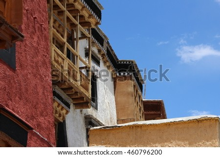 Architecture at Thiksey Monastery, Leh - India