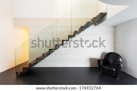 Architecture, beautiful interior of a modern villa, staircase - stock photo