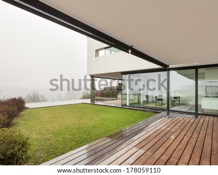 Architecture, beautiful interior of a modern villa, view from veranda - stock photo
