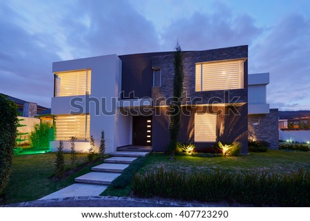 Architecture: Big modern House - stock photo