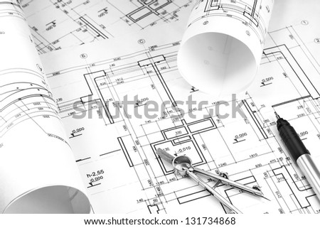Architecture blueprint and work tools - stock photo