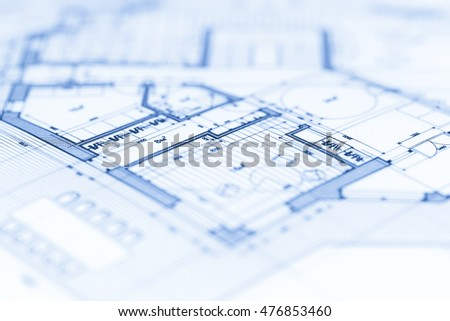 architecture blueprint   house plan. Rolls Architecture Blueprints House Plans Stock Photo 272110673