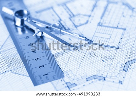 architecture blueprint -  house plan, compass, ruler