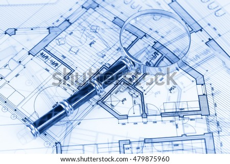 Architecture blueprint house plans magnifying glass stock photo architecture blueprint house plans magnifying glass malvernweather Image collections
