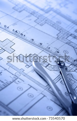 Architecture blueprint tools stock photo 73540570 shutterstock architecture blueprint tools malvernweather Image collections