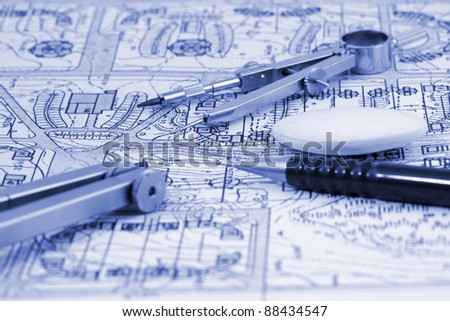 architecture blueprint & work tools - pencil, compass, eraser