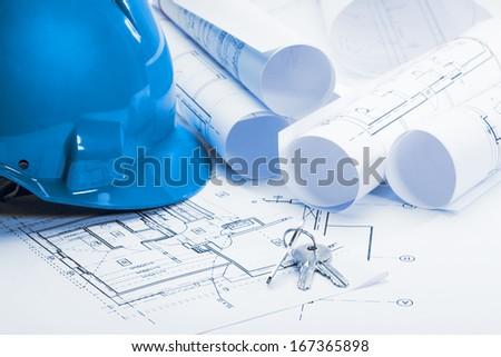 Architecture blueprints, Blue tone - stock photo