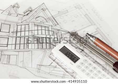 House On Design Sketches Blueprints Stock Illustration