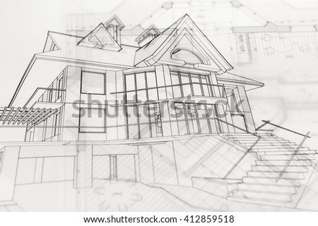 Architecture Blueprints House viktoriya's portfolio on shutterstock