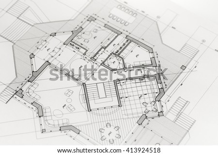 Architecture Blueprints House Plans Stock Photo