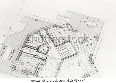 Architecture Blueprints House architecture plan rolls blueprints stock photo 131734769