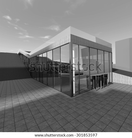 Architecture building. 3d rendering