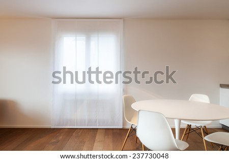 Architecture, comfortable apartment, dining table and chairs white - stock photo