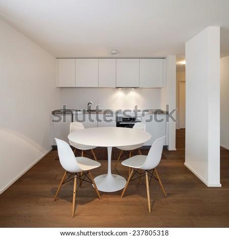 Architecture, comfortable apartment, white kitchen view - stock photo