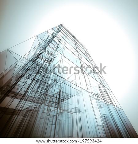 Architecture concept. Building design and 3d model my own - stock photo