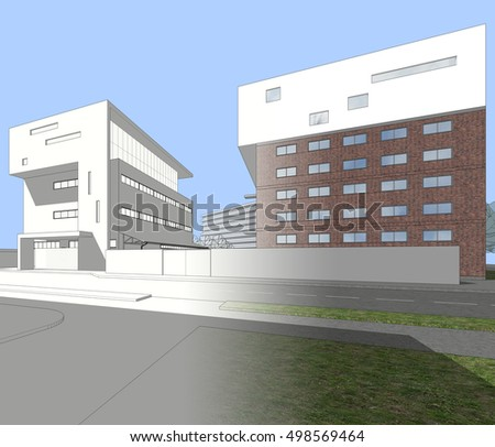 Architecture 3d illustration