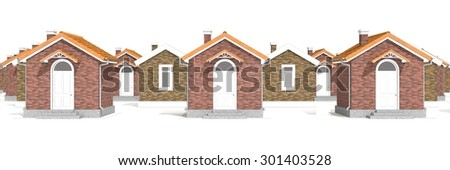 Architecture 3D model of brick houses isolated on white - stock photo