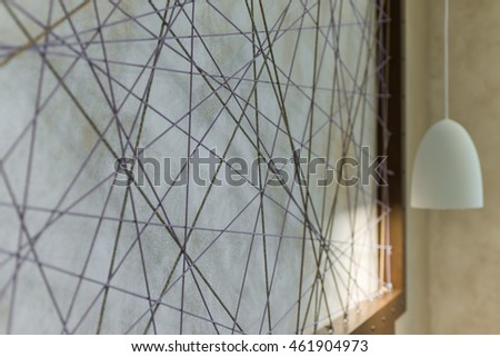 Architecture design Abstract wire ornament on wall in modern home interior