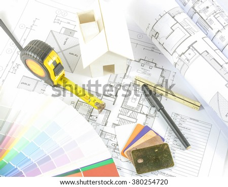 architecture design.architectural materials, measuring tools ,model and blueprints  - stock photo