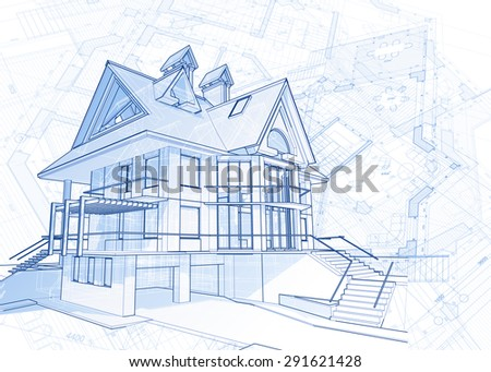 Architecture design: blueprint - house  & plans illustration - stock photo